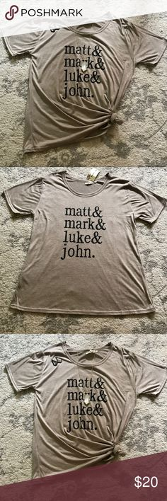 Matt, Mark, Luke, & John Tee Color is a heathered mocha color! Very soft material. Only one! Southern Stitch Tops Tees - Short Sleeve