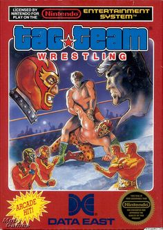 Box art by Frank Cir Box art by Frank Cirocco 1986 Data East. One of the earliest US 'artworks' to appear on an NES game. 80s Video Games, Video Game Music, Classic Video Games, Super Nintendo Games, Nes Games, Arcade Games, Games Box, Wrestling Games, Wrestling Videos