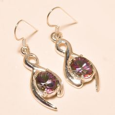 92.5% SOLID STERLING SILVER DAZZLING FACETED MYSTIC TOPAZ EARRING 4.50 CM #Handmade