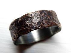 gesmolten brons ring zilver band unieke mens ring brons