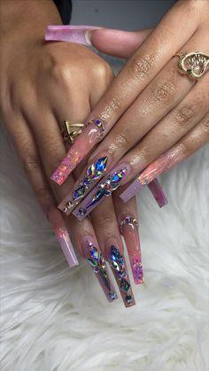 Rhinestone Nails, Bling Nails, Swag Nails, Glitter Nails, Acrylic Nails Coffin Pink, Long Square Acrylic Nails, Coffin Nails, Drip Nails, Glow Nails