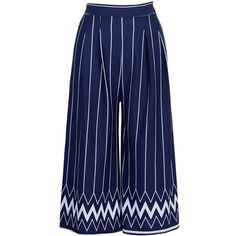 Zigzag Striped Cropped Wide-Leg Casual Pants (110 RON) ❤ liked on Polyvore featuring pants, capris, wide leg cropped trousers, blue trousers, blue wide leg trousers, wide leg pants and wide-leg pants