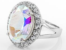 oval Mercury Mist (R) Mystic topaz ® and round white topaz sterling silver ring. Measures approximately x Not sizeable. Topaz Gemstone, Gemstone Colors, Gemstone Rings, Book Jewelry, Mystic Topaz, Broken Chain, Pretty Rings, Types Of Rings, White Topaz