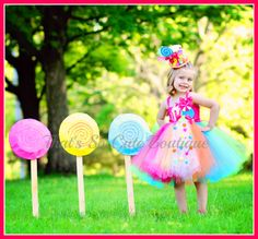 Candy Land Tutu Dress, Candy Pageant Wear, Lollipop Birthday Tutu Dress, Rainbow Tutu Dress
