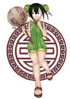 Not my lineart , only colored them ~ #TsuyuAsui #BokunoHeroAcademia