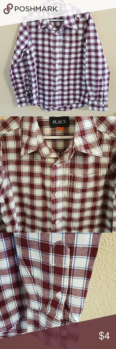 Children's Place Boys Plaid Button Up Shirt Size S Adorable Maroon, Blue, and White Boy's Long Sleeve Plaid Button Up Shirt Size Small 5/6. Roll Tab Sleeves Give You the Option to make it Short Sleeve. Excellent condition worn once Children's Place Shirts & Tops