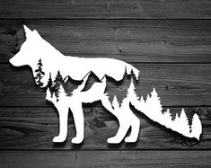 Fox Vinyl Decal, Mountain Decal, Tree Decal, Mountains, Mountain Sticker, Nature Decal, Adventure Decal, Animal Decal, Car Decal, Yeti Decal