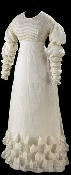 Great Britain, UK (made) Date:1816-1821 (made) Muslin with decorative stitching made of gold thread Credit Line:Given by Miss L. M. Buckle Museum number:T.55-1934