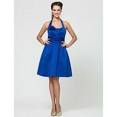 A-line Halter Knee-length Satin Bridesmaid Dress