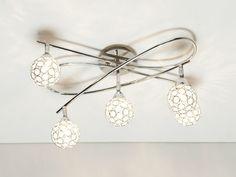 Plafonnier 5 spots orientables avec sphères en acrylique longueur 61cm   Shiga