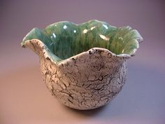 Ceramic art pottery, Pinch pot, Planter, Vase, Candy Bowl, Pencil holder in Black, White and Green, by Dana Morton I like to pinch the clay until it cracks creating this great earthy texture on the outside of the pinch pot.