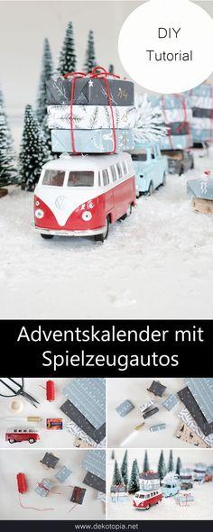 DIY Alneitung: Cool advent calendar with toy cars, easy to make yourself . - DIY Alneitung: Easy to make cool advent calendar with toy cars yourself # diy Bus it Y - Diy Christmas Gifts For Boyfriend, Diy Gifts For Girlfriend, Diy Gifts For Dad, Diy Gifts For Friends, Christmas Diy, Xmas, Upcycled Crafts, Diy Crafts To Sell, Cool Advent Calendars
