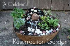 Creating a Resurrection Garden with kids as an Easter Tradition.