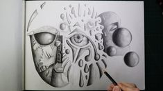 Surrealism Drawing, Automatic Drawing, Drawing Practice, Pencil Drawings, Psychedelic, Arts And Crafts, Drawing Exercises, Trippy, Art And Craft