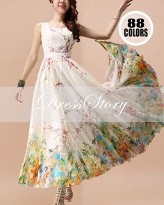 Floral Maxi Dress  Floral Evening Dress  Yellow by DressStory, $169.99