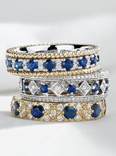 These eye-catching eternity rings feature alternating rich blue sapphires and brilliant pavé diamonds.
