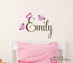 Personalized Name With Butterflies, Custom Vinyl wall decals stickers, nursery, kids & teens room, removable decals stickers on Etsy, $19.00