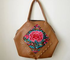 Floral Leather Tote