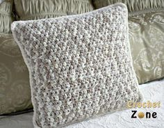 Easy crochet cushion cover. AllFreeCrochet.com