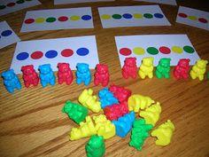 Self-Correcting Math Activities for Preschoolers. From Weird Unsocialized Homeschooler http://www.weirdunsocializedhomeschoolers.com/self-correcting-math-activities-for/. Teaches AB patterning.