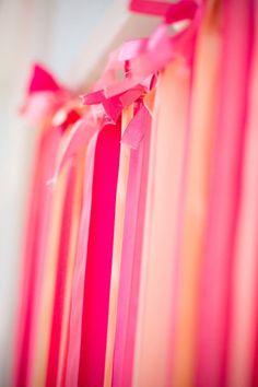 Ribbon Wall - one for a photobooth, one behind us at the head table Birthday Balloons, 4th Birthday, Pink Birthday, Birthday Ideas, Ribbon Wall, Ribbon Backdrop, Ribbon Curtain, Diy Ribbon, Diy Wedding