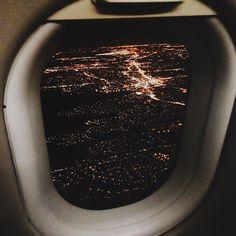 City skyline from airplane window
