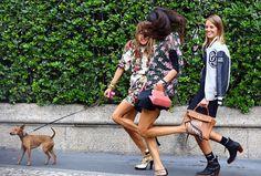 Anna Dello Russo (com o cachorro), Giovanna Battaglia e Carlota Oddi