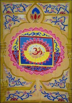 Om in Lotus Blossom - Gold - Tapestry