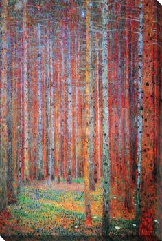 Pine Forest - Tannenwald Stretched Canvas Print by Gustav Klimt at Art.com