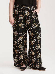 c97faa1cb1f93 Plus Size Floral Print Tie Front Wide Leg Pants