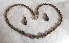 GORGEOUS UNAKITE AND FACETED BLACK CRYSTAL NECKLACE AND EARRINGS #Handmade