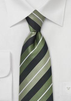 Krawatte Streifendesign asphaltschwarz waldgrün