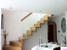 Stairs made of wood, steel, metal and concrete staircase, directly from manufacturer Concrete Staircase, Deck Stairs, Wooden Stairs, Interior Stairs, Made Of Wood, Staircases, Steel, Building, Easy