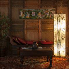 Mélange de tissus et de bambou, le lampadaire BATAM donnera un côté très « nature » à votre intérieur. Batam, Images, Nature, Painting, Art, Bamboo, Floor Lamps, Light Fixtures, Fabrics