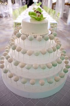What a beautiful way to display cake pops! #wedding #weddingdessert #desserttable #mint #cakepops