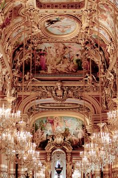 Chandeliers at the Opera Garnier, Paris  ,The reception hall at the Opera Garnier in Paris
