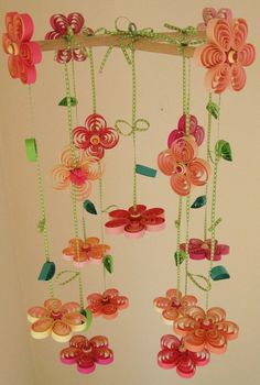 Quilled paper flower mobile