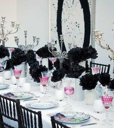 Love the color combo~In San Francisco, Torryne Choate of Birch created a floral arrangement for Alexis Swanson Traina of Swanson Vineyards, using black paper flowers. Country Living has a video with instructions on how to make crepe paper flowers.