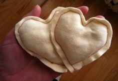 rice filled flannel - heart/handwarmers via #paintcutpaste