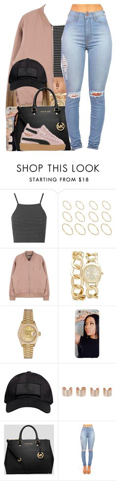 """""""Drake / 10 Bands"""" by nasiaamiraaa ❤ liked on Polyvore featuring Topshop, ASOS, Forever New, Rolex, October's Very Own, Maison Margiela, MICHAEL Michael Kors, Puma and NanaOutfits"""