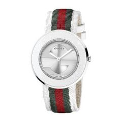32ae10d05d7 Amazon.com  Gucci U-Play Medium Stainless Steel Watch with Tricolored Nylon  Somen s Strap(Model YA129411)  Watches