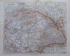1897 Ungarn Galizien und Bukowina alte Landkarte Karte Antique Map Lithographie