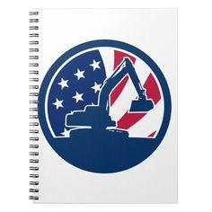 American Excavator USA Flag Icon Notebook Custom Office Retirement #office #retirement