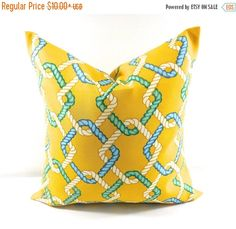 SALE Outdoor Pillow cover. Cape Cod Summer. Yellow. Beach decor. stain & dirt resistant Decorative pillow case. Select your size