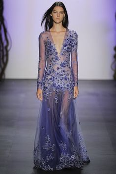 Beautiful sheer lilac gown with purple & silver embroidered flowers - Tadashi Soji seen at NYFW '15 #SS16...x