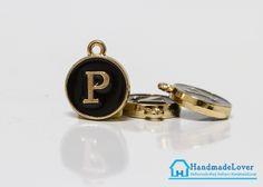 """จี้ ตัวอักษร สีดำขอบทอง รูป ตัว """"P"""""""