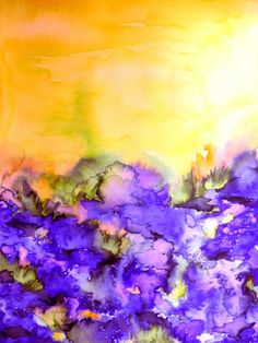 INTO ETERNITY Yellow and Lavender Purple Colorful Abstract Watercolor Painting Fine Art Digital Giclee Art Print by EbiEmporium, #giclee #art #watercolorpainting #watercolor #fineart #digital #artprint #wallart #decor #homedecor #nature #floral #flowers #field #outdoors #landscape #painting #colorful #spring #summer #whimsical #EbiEmporium