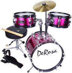 Cheap Discount De Rosa by Bridgecraft 3-Piece 12-Inch Kids Drum Set - Princess Pink Buy Now