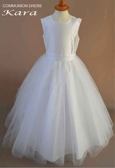 Kara - Satin And Tulle Sleeveless Communion Dress With Full Circle Skirt - New 2014