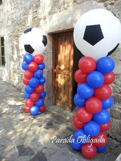 columnas con globos con la temática de fútbol Messi Birthday, Soccer Birthday Parties, Birthday Themes For Boys, Football Birthday, Birthday Decorations, Birthday Party Themes, 5th Birthday, Psg, Barcelona Soccer Party